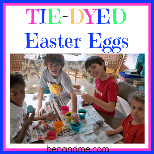 Tie-Dyeing Easter Eggs…..