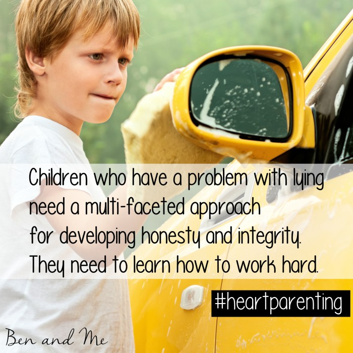 Children who have a problem with lying need a multi-faceted approach for developing honesty and integrity. They need to learn how to work hard. #heartparenting
