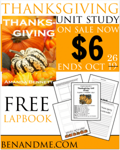 Amanda Bennett Thanksgiving Unit Study On Sale for $6 with Free Lapbook from Homeschool Share