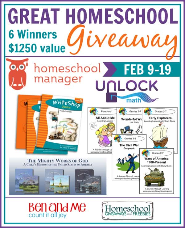 Great Homeschool Giveaway February Edition 6 Winners $1250 in prizes including a $630 GRAND PRIZE