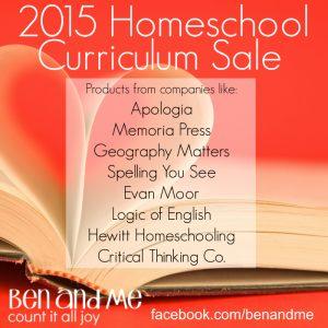 2015 Homeschool Curriculum Sale