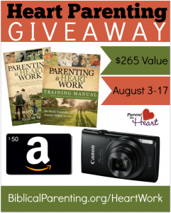Win a Canon Powershot, $50 Amazon gift card, and Heart Parenting books from the National Center for Biblical Parenting #heartparenting