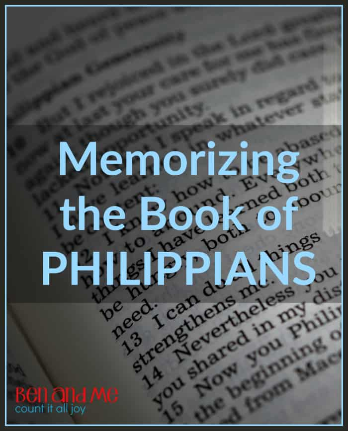 "Memorizing the Book of Philippians -- After the Gospels, I think the book of Philippians is one of the best books of the Bible to read AND  memorize with your kids. It is so full of wise and comforting words that will help you have ""the mind of Christ,"" giving you the ability to recall important truths when you (or your kids) need them."