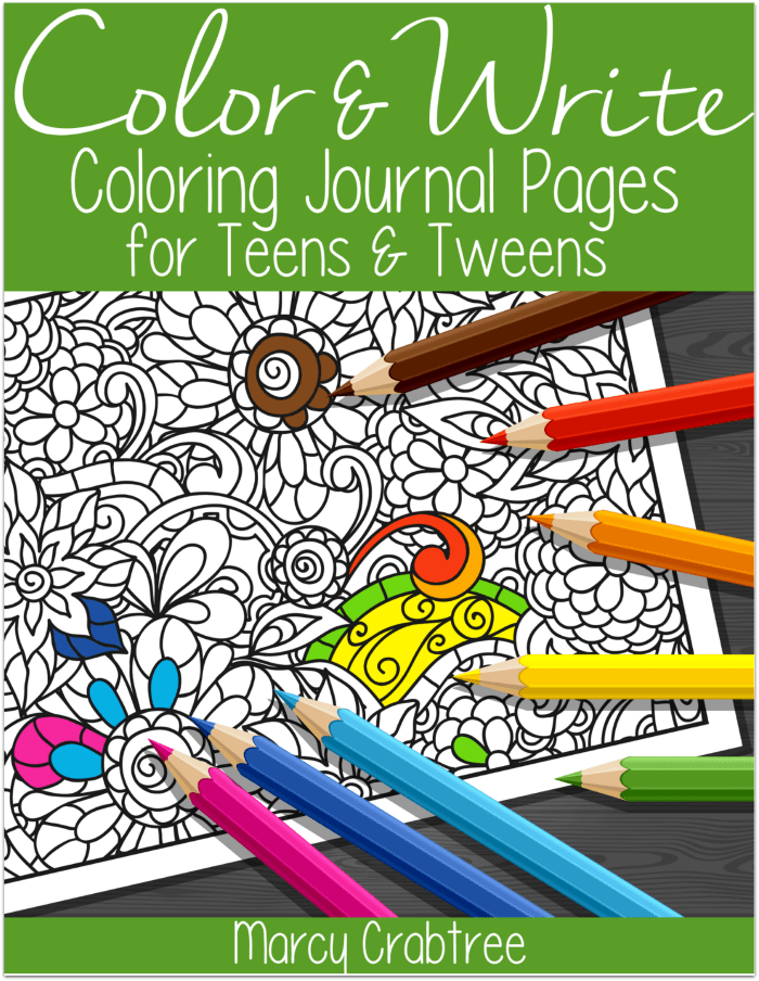 Free download of 10 Color & Write coloring journal pages for teens & tweens. Use for writing prompts, creative writing, or journaling.