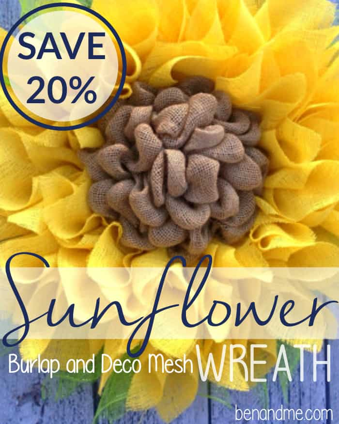 Save 20 on your order including this Burlap & Deco Mesh Sunflower Wreath