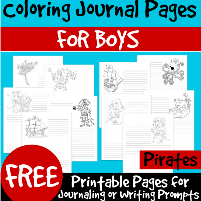 FREE! Color and Write: Pirate-Themed Coloring Journal Pages for Boys