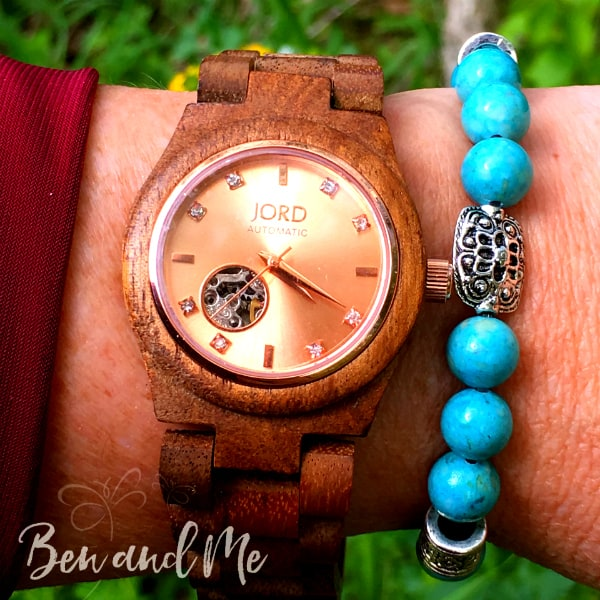 #JORDWATCH Cora Series Koa and Rose Gold Wood Watch with Turquoise bracelet from the Oily Amulet