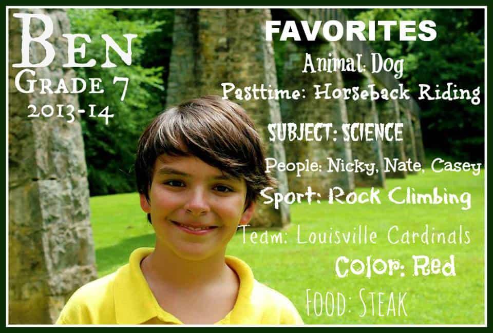 Ben Favorites grade 7