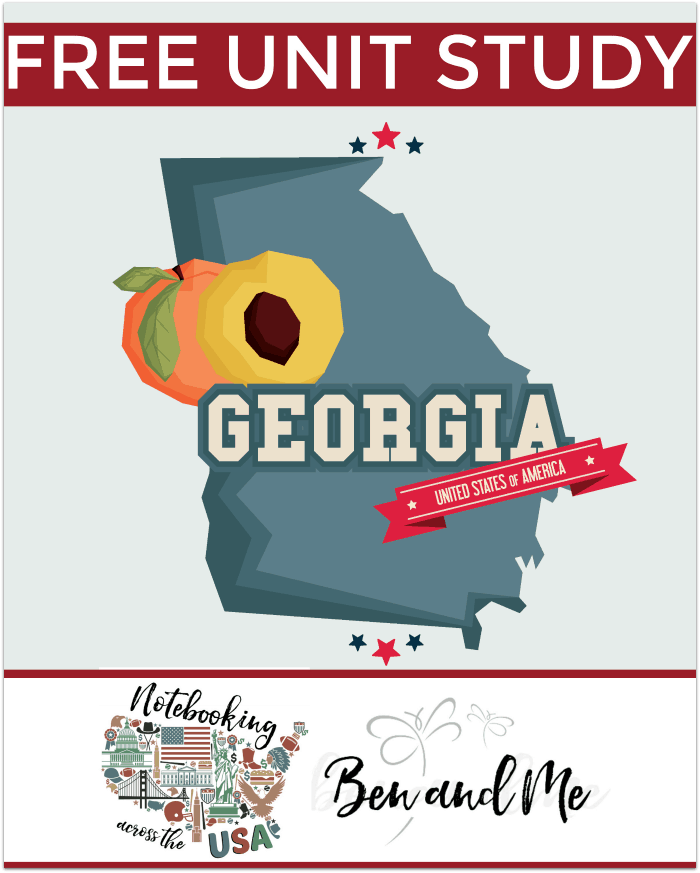 Notebooking Across the USA Georgia -- Homeschool students grades 3-8 learn all about the Peach State in this Georgia Unit Study -- part of the Notebooking Across America series.