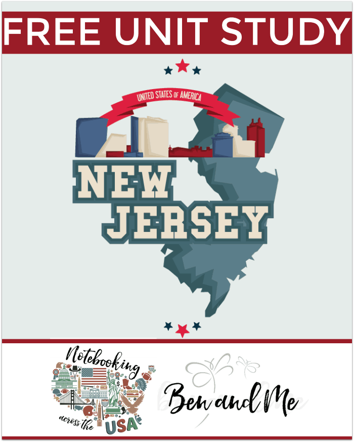 "Notebooking Across the USA New Jersey -- Come learn about the Garden State"" in this New Jersey Unit Study -- part of the Notebooking Across the USA series from Ben and Me."