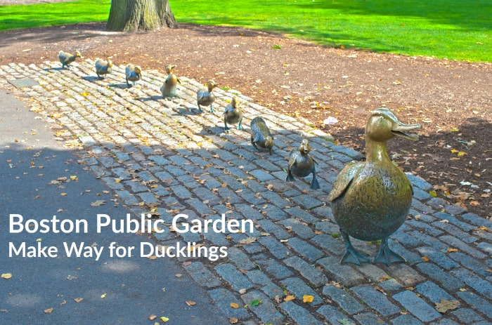 Mommy Duck and Eight Little Ducks as the Symbol of Boston located in Public Garden in Massachusetts, USA. HDR Image. Horizontal Composition