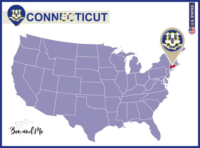 Connecticut State on USA Map. Connecticut flag and map. US States.