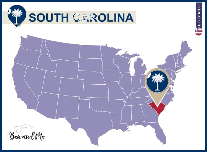 South Carolina State on USA Map. South Carolina flag and map. US States.