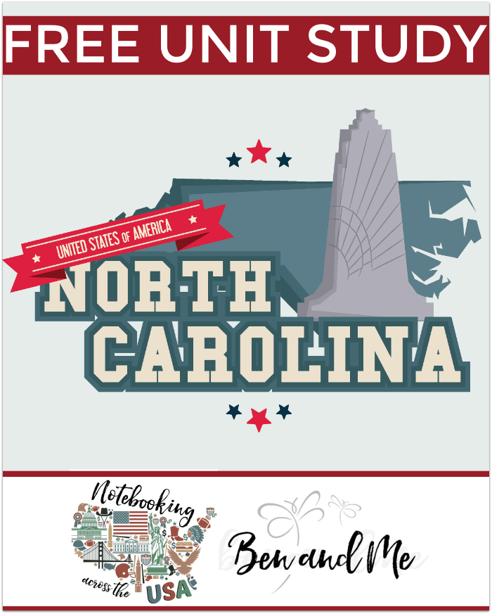 "FREE North Carolina Unit Study for grades 3-8 -- learn about the ""Tarheel State"" in this 12th installment of Notebooking Across the USA."