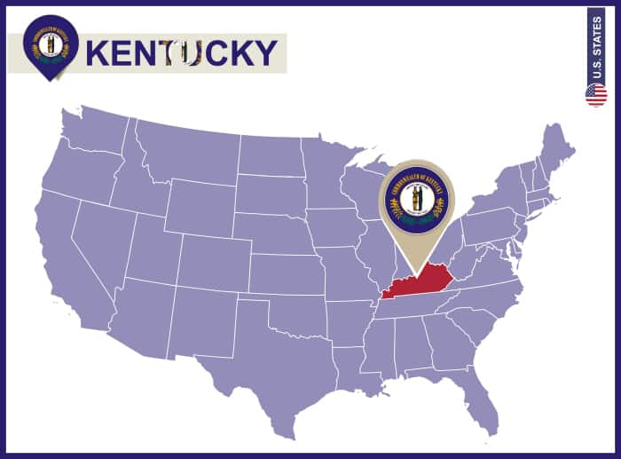 Kentucky State on USA Map. Kentucky flag and map. US States.