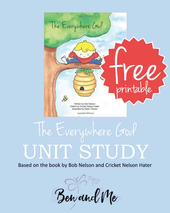 Download this free literature-based unit study for grades K-4, based on the book The Everywhere God by Bob Nelson and Cricket Nelson Hater. This is a delightful book about the presence of God in our lives no matter what else may be happening around us. It follows a young boy through various situations and encourages the reader to see God is with him wherever he is and whatever he is doing.