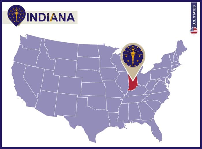 Indiana State on USA Map. Indiana flag and map. US States.