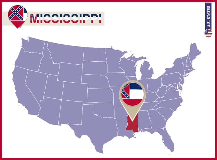 Mississippi State on USA Map. Mississippi flag and map. US States.