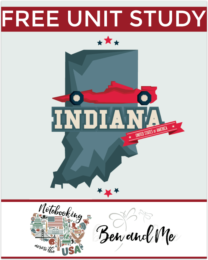 "FREE Indiana Unit Study for grades 3-8 -- learn about the ""Hoosier State"" in this 19th installment of Notebooking Across the USA."