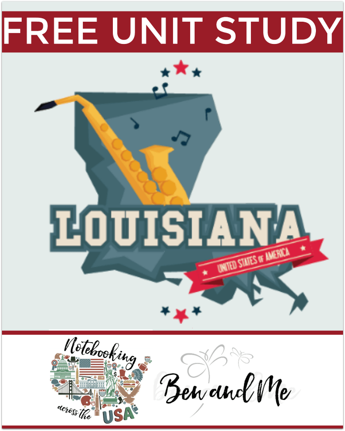 "FREE Louisiana Unit Study for grades 3-8 -- learn about the ""Pelican State"" in this 18th installment of Notebooking Across the USA."