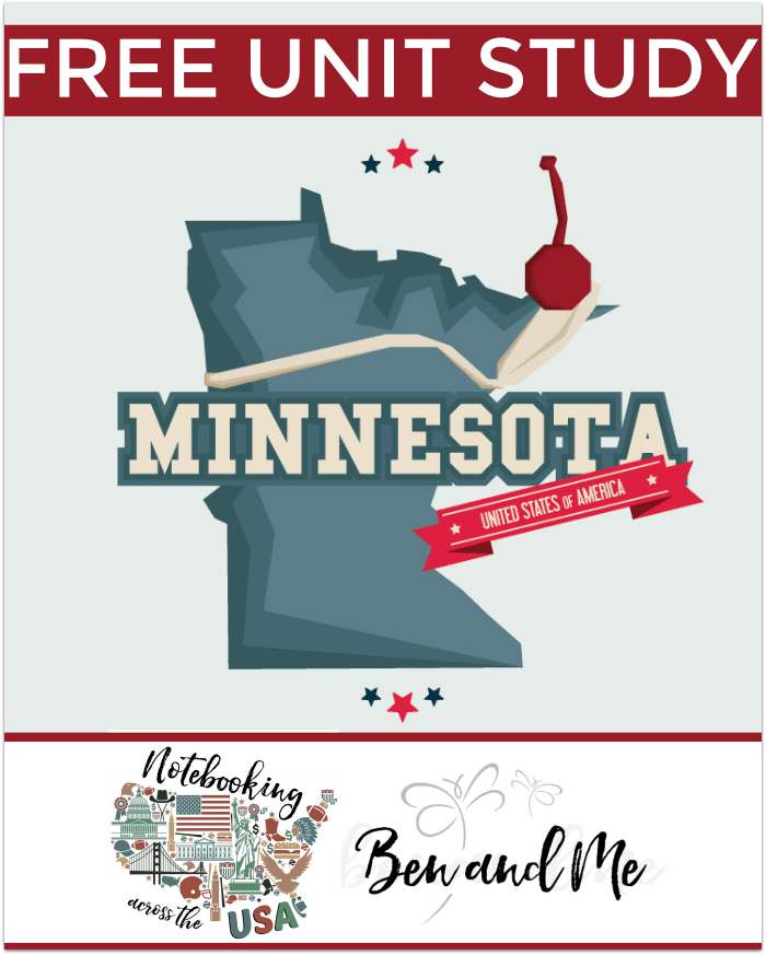 FREE Minnesota Unit Study -- Come learn about the Land of 10,000 Lakes in this 32nd installment of Notebooking Across the USA. Includes a book basket and road trip ideas!
