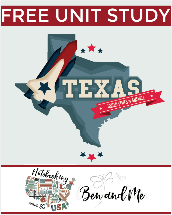 "FREE Texas Unit Study for grades 3-8 -- learn about the ""Lone Star State"" in this 28th installment of Notebooking Across the USA."