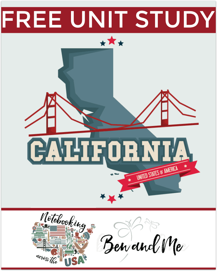 FREE California Unit Study for grades 3-8 -- learn about the Golden State in this 31st installment of Notebooking Across the USA. Includes book basket and road trip ideas.