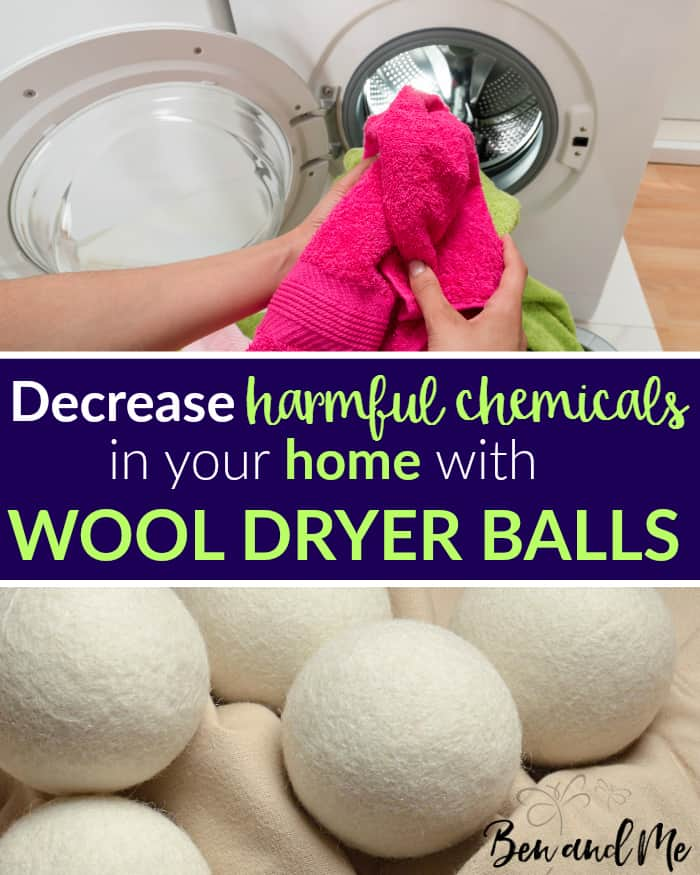 Remove harmful chemicals from your laundry by replacing dryer sheets and fabric softener with wool dryer balls scented with your favorite essential oils.