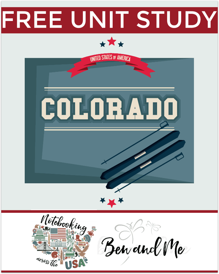 FREE Colorado Unit Study -- Come learn about the Centennial State in this 38th installment of Notebooking Across the USA. Includes a book basket and road trip ideas!