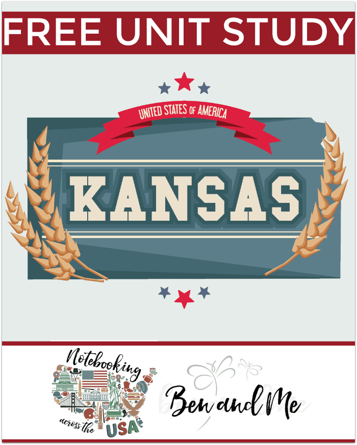 FREE Kansas Unit Study -- Come learn about the Sunflower State in this 34th installment of Notebooking Across the USA. Includes a book basket and road trip ideas!