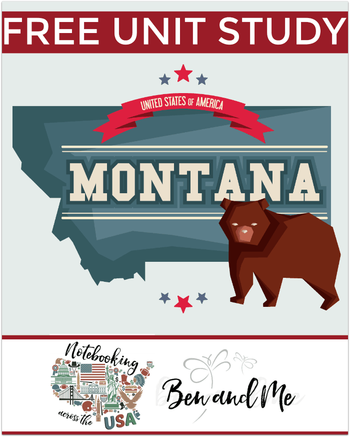 """Use this FREE Montana homeschool unit study with book basket, road trip ideas, notebooking, and more to study """"The Treasure State."""" Targets grades 3-8."""