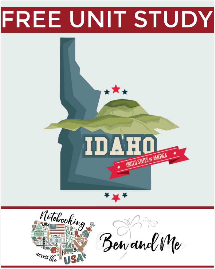 "FREE Idaho Unit Study for grades 3-8 -- learn about the ""Gemstone State"" with books, arts and crafts, recipes, and more!"