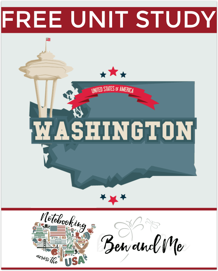 """FREE Washington Unit Study for grades 3-8 -- learn about the """"Evergreen State"""" with books, arts and crafts, recipes, and more!"""