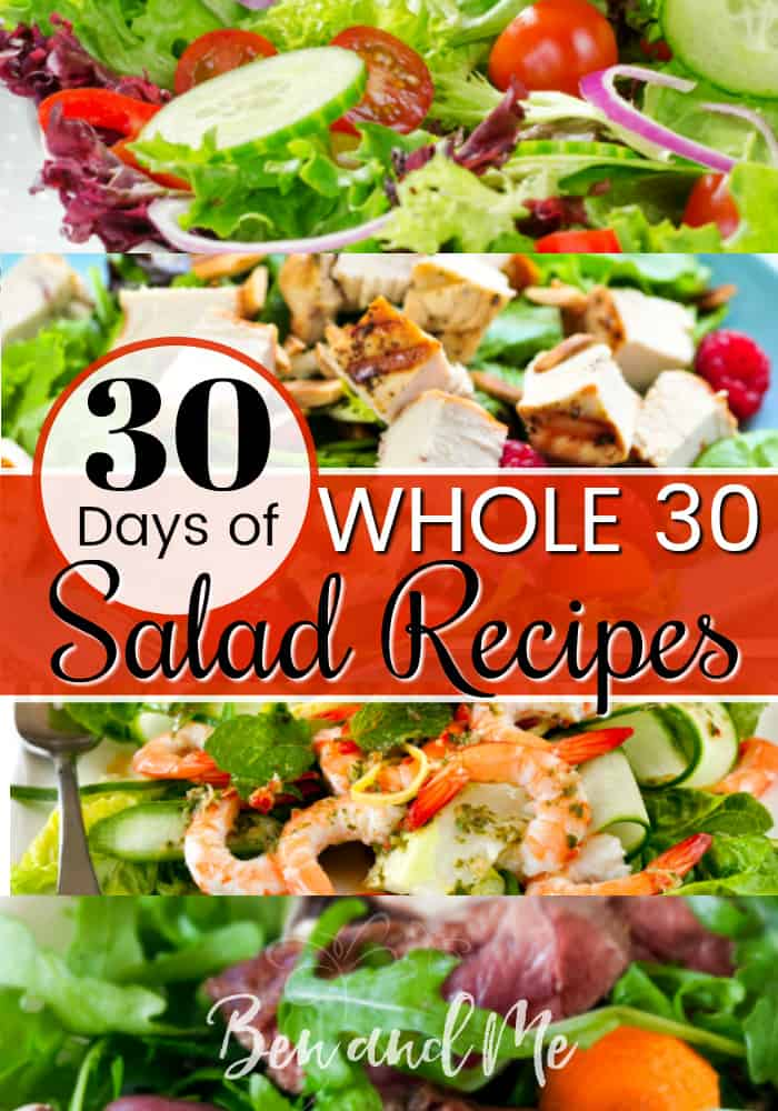 Whether or not you are following the Whole 30 eating plan, enjoy 30 Days of Whole 30 Salad Recipes. Eating well has never tasted so good!
