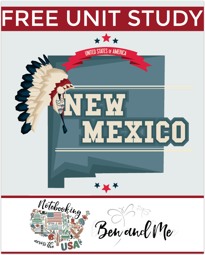 """FREE New Mexico Unit Study for grades 3-8 -- learn about the """"Land of Enchantment"""" with books, arts and crafts, recipes, and more!"""